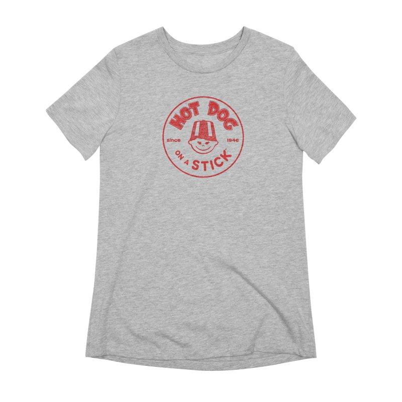 Hot Dog on a Stick Red Logo Women's Extra Soft T-Shirt by Hot Dog On A Stick's Artist Shop