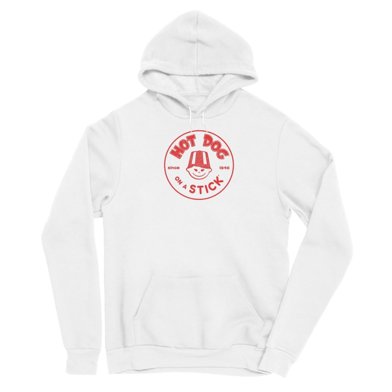 Hot Dog on a Stick Red Logo Men's Sponge Fleece Pullover Hoody by Hot Dog On A Stick's Artist Shop