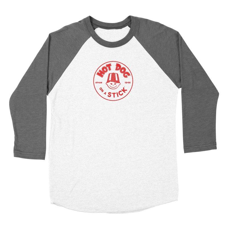 Hot Dog on a Stick Red Logo Women's Baseball Triblend Longsleeve T-Shirt by Hot Dog On A Stick's Artist Shop