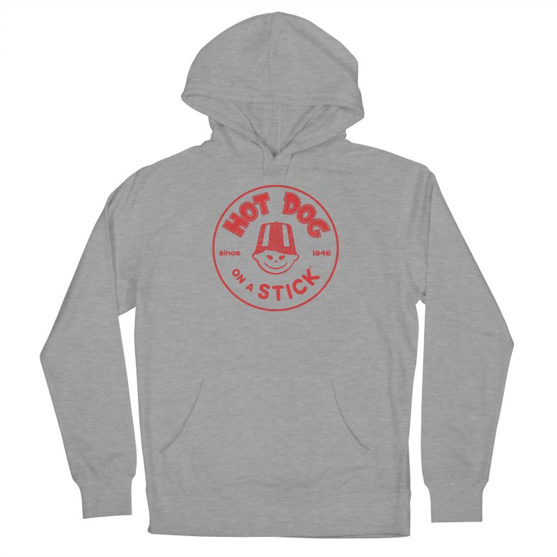 Hot Dog on a Stick Red Logo Men's French Terry Pullover Hoody by Hot Dog On A Stick's Artist Shop