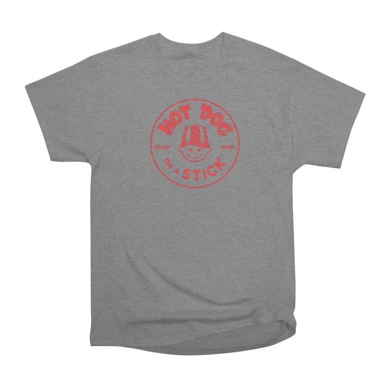 Hot Dog on a Stick Red Logo Men's Heavyweight T-Shirt by Hot Dog On A Stick's Artist Shop