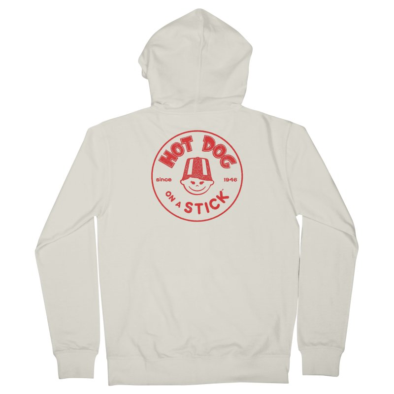 Hot Dog on a Stick Red Logo Men's French Terry Zip-Up Hoody by Hot Dog On A Stick's Artist Shop