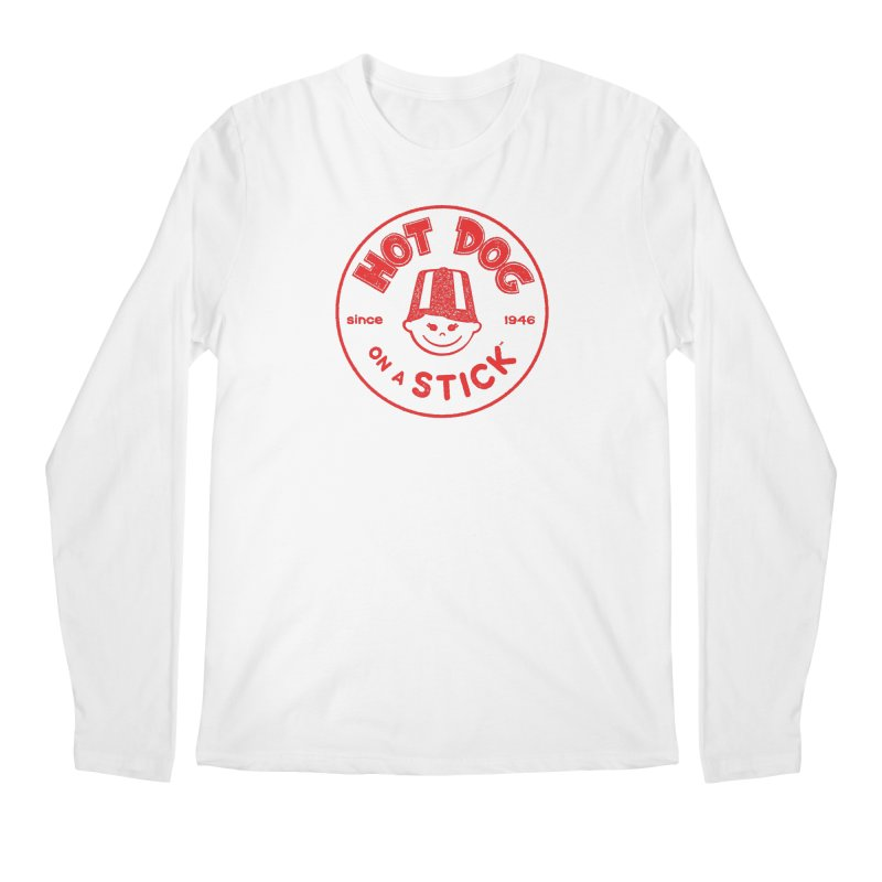 Hot Dog on a Stick Red Logo Men's Regular Longsleeve T-Shirt by Hot Dog On A Stick's Artist Shop