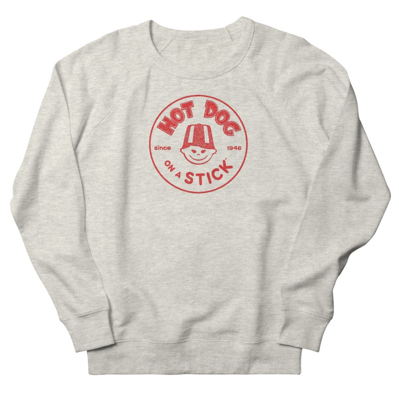 Hot Dog on a Stick Red Logo Men's French Terry Sweatshirt by Hot Dog On A Stick's Artist Shop