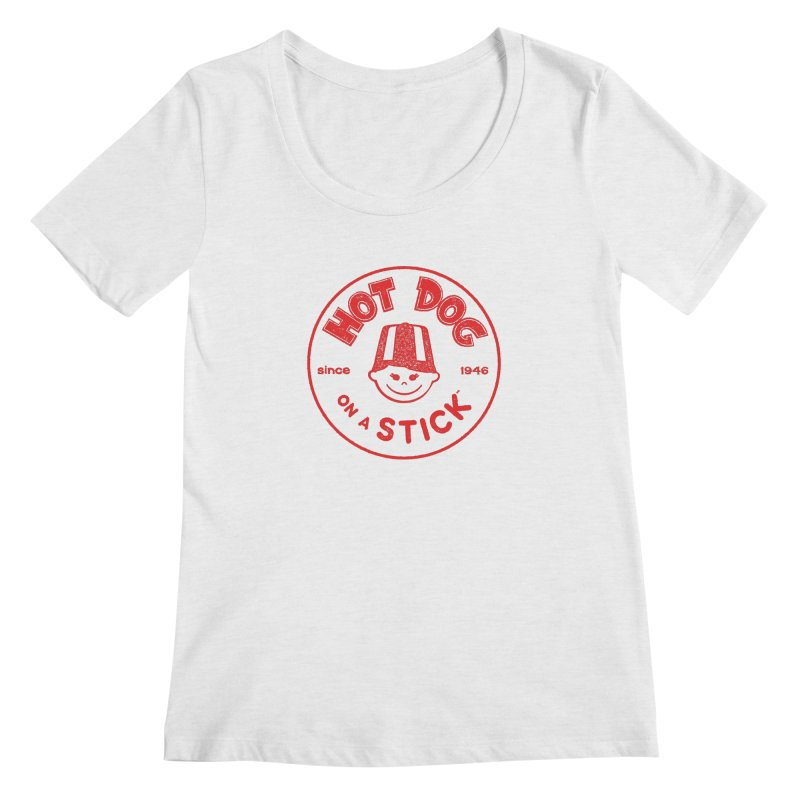 Hot Dog on a Stick Red Logo Women's Regular Scoop Neck by Hot Dog On A Stick's Artist Shop