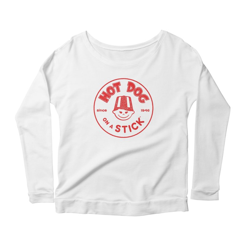 Hot Dog on a Stick Red Logo Women's Scoop Neck Longsleeve T-Shirt by Hot Dog On A Stick's Artist Shop