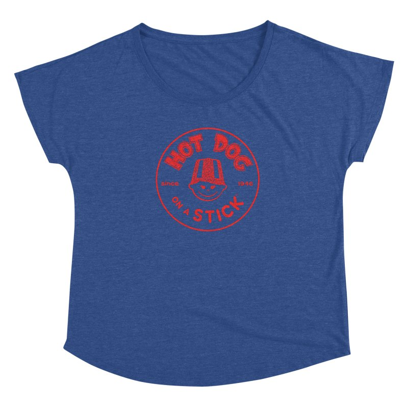 Hot Dog on a Stick Red Logo Women's Scoop Neck by Hot Dog On A Stick's Artist Shop