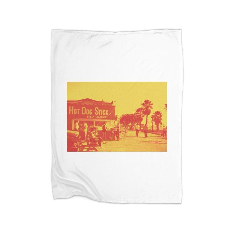 Muscle Beach Vintage Home Fleece Blanket Blanket by Hot Dog On A Stick's Artist Shop