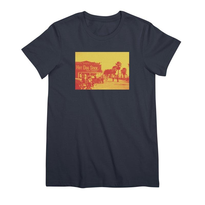 Muscle Beach Vintage Women's Premium T-Shirt by Hot Dog On A Stick's Artist Shop