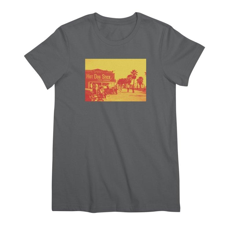 Muscle Beach Vintage Women's T-Shirt by Hot Dog On A Stick's Artist Shop