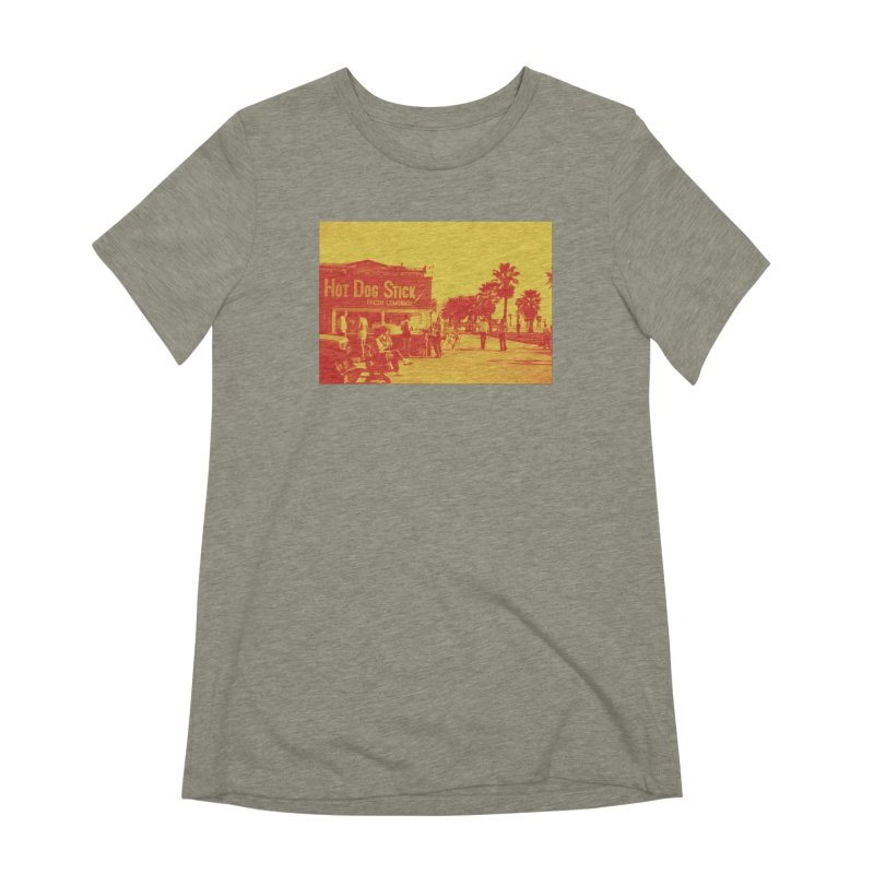 Muscle Beach Vintage Women's Extra Soft T-Shirt by Hot Dog On A Stick's Artist Shop