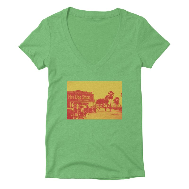 Muscle Beach Vintage Women's Deep V-Neck V-Neck by Hot Dog On A Stick's Artist Shop