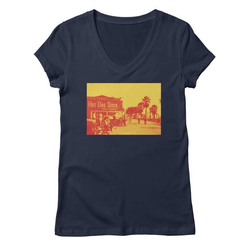 Muscle Beach Vintage Women's Regular V-Neck by Hot Dog On A Stick's Artist Shop