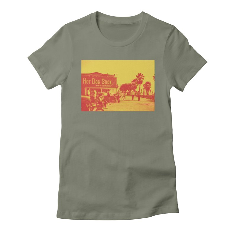 Muscle Beach Vintage Women's Fitted T-Shirt by Hot Dog On A Stick's Artist Shop