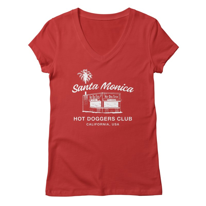 Santa Monica in Women's Regular V-Neck Red by Hot Dog On A Stick's Artist Shop