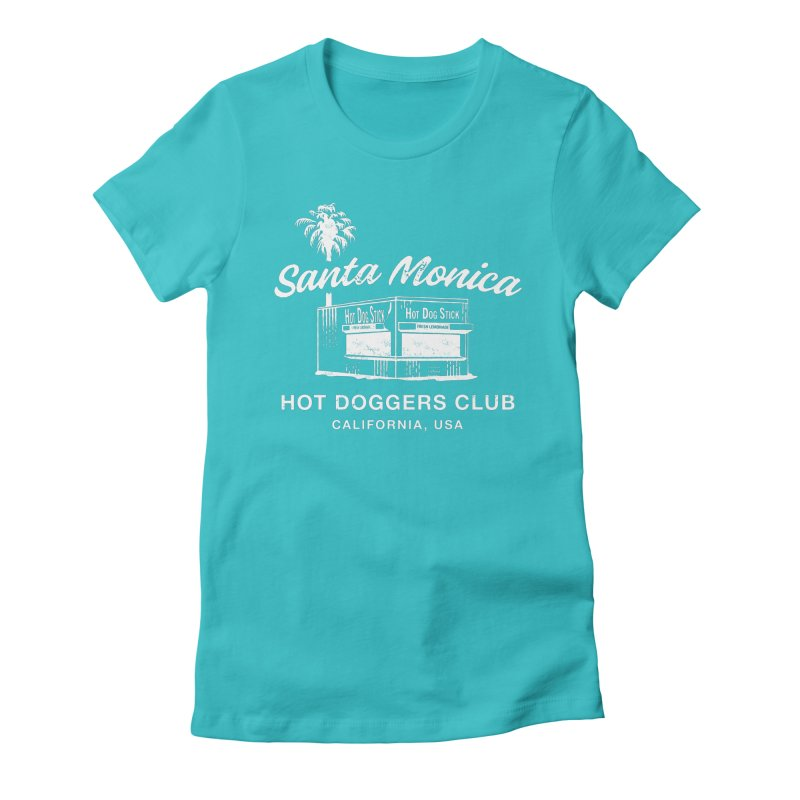 Santa Monica Women's Fitted T-Shirt by Hot Dog On A Stick's Artist Shop