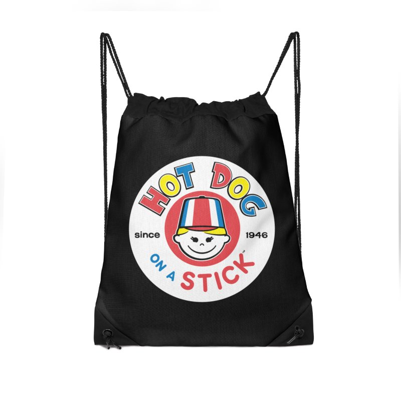 Hot Dog on a Stick Logo Accessories Drawstring Bag Bag by Hot Dog On A Stick's Artist Shop