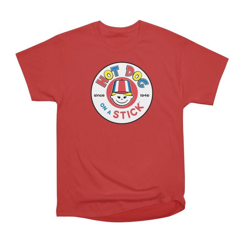 Hot Dog on a Stick Logo Men's Heavyweight T-Shirt by Hot Dog On A Stick's Artist Shop