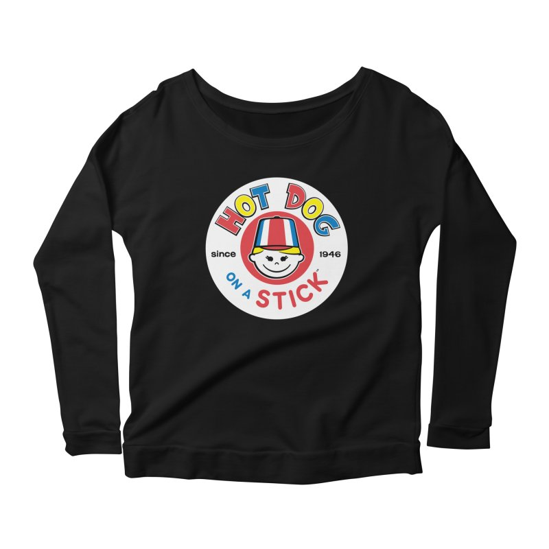 Hot Dog on a Stick Logo Women's Scoop Neck Longsleeve T-Shirt by Hot Dog On A Stick's Artist Shop