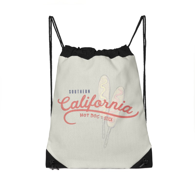 Southern California Accessories Drawstring Bag Bag by Hot Dog On A Stick's Artist Shop