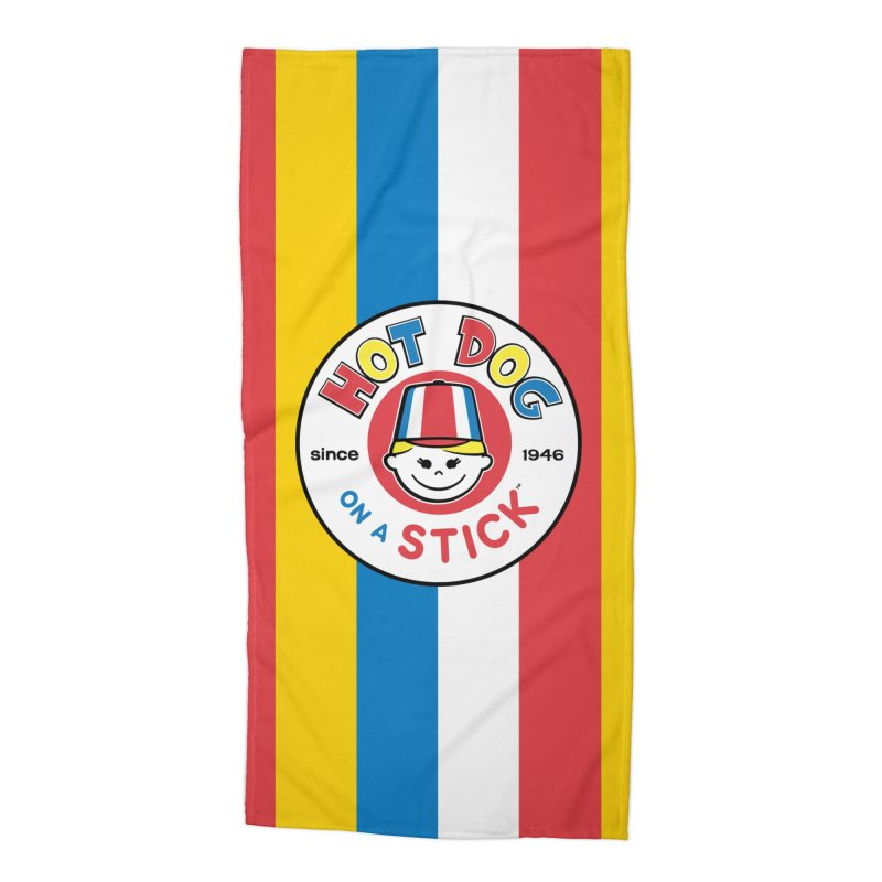 Hot Dog on a Stick Stripes Accessories Beach Towel by Hot Dog On A Stick's Artist Shop