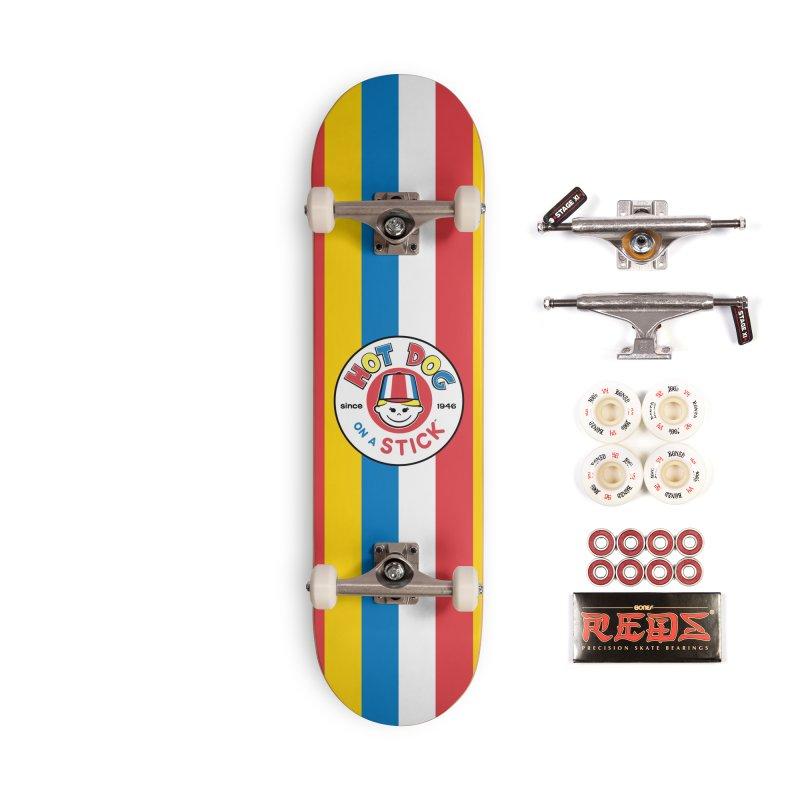 Hot Dog on a Stick Stripes Accessories Complete - Pro Skateboard by Hot Dog On A Stick's Artist Shop