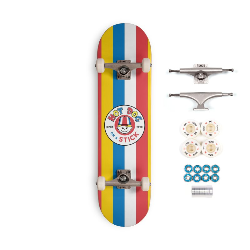Hot Dog on a Stick Stripes Accessories Complete - Premium Skateboard by Hot Dog On A Stick's Artist Shop