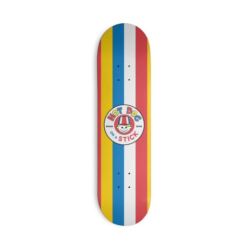 Hot Dog on a Stick Stripes in Deck Only Skateboard by Hot Dog On A Stick's Artist Shop