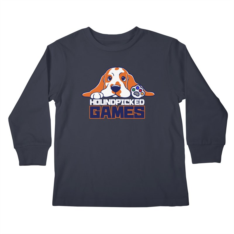 Hound Picked Games Logo (Blue Text) Kids Longsleeve T-Shirt by Hound Picked Games