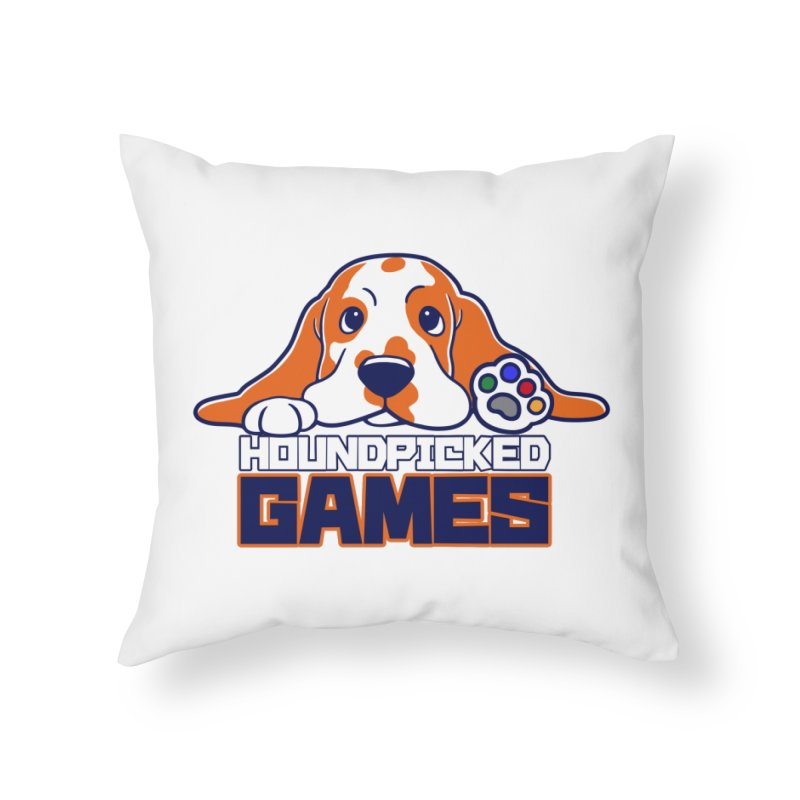 Hound Picked Games Logo (Blue Text) Home Throw Pillow by Hound Picked Games