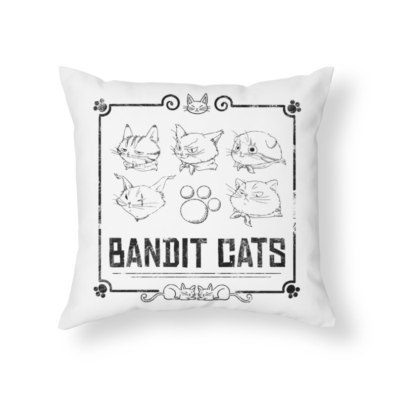 Meet the Cat Gang! (Black) Home Throw Pillow by Hound Picked Games