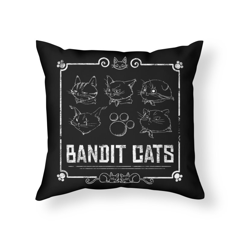 Meet the Cat Gang! (White) Home Throw Pillow by Hound Picked Games
