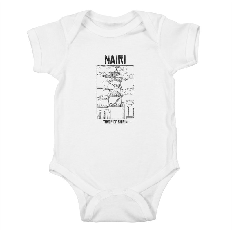 The Tower of Shirin (Black) Kids Baby Bodysuit by Hound Picked Games