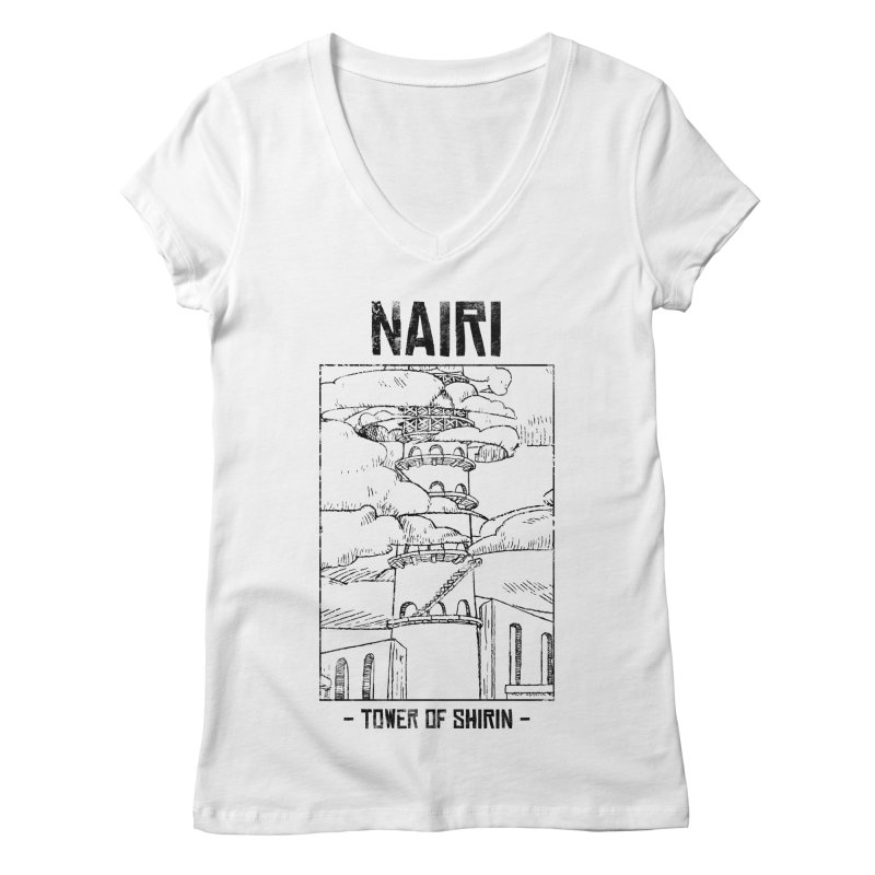 The Tower of Shirin (Black) Women's Regular V-Neck by Hound Picked Games