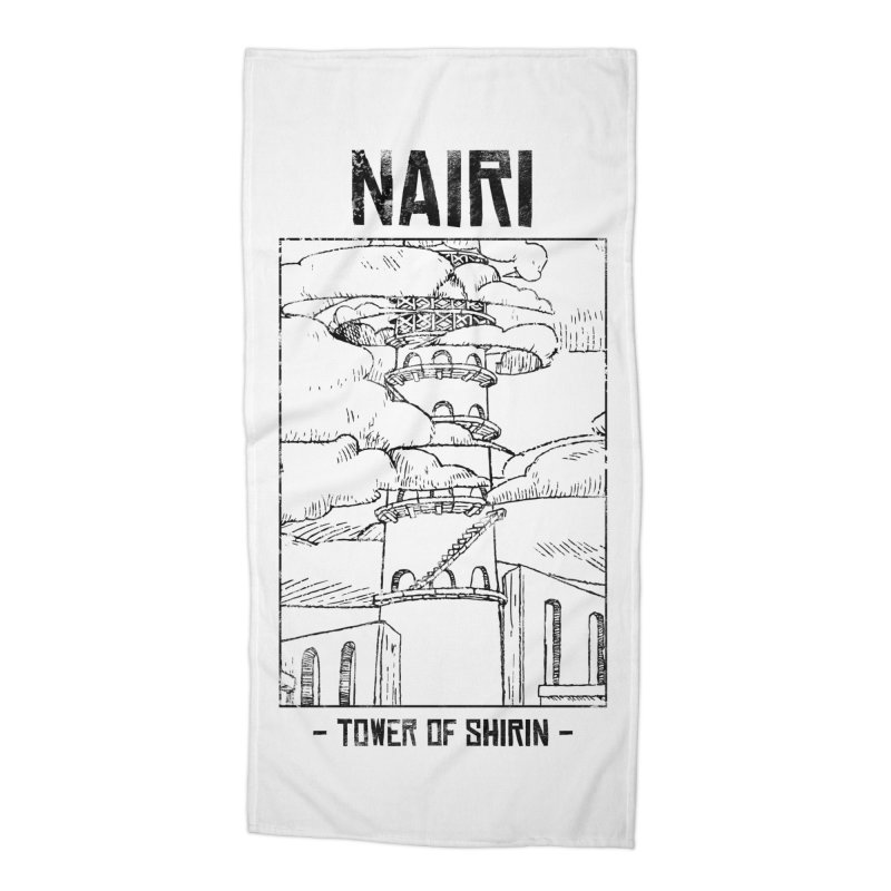 The Tower of Shirin (Black) Accessories Beach Towel by Hound Picked Games