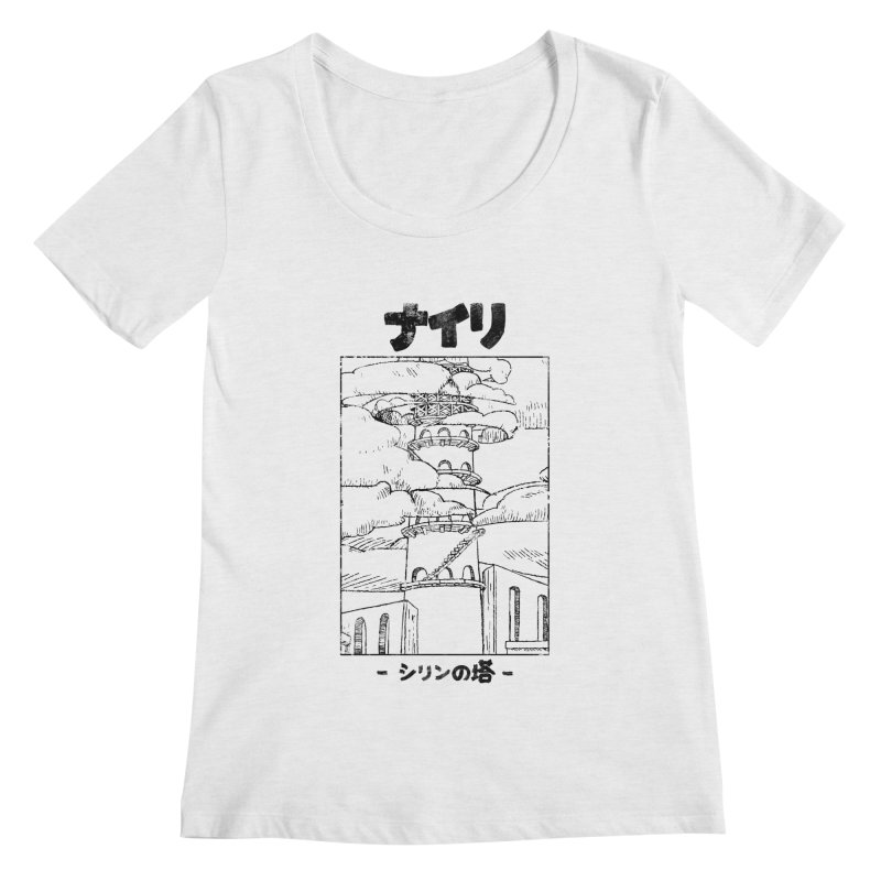 The Tower of Shirin (Japanese - Black) Women's Regular Scoop Neck by Hound Picked Games