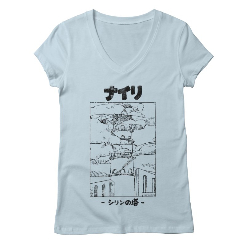 The Tower of Shirin (Japanese - Black) Women's Regular V-Neck by Hound Picked Games