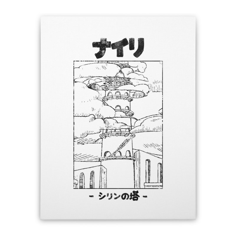 The Tower of Shirin (Japanese - Black) Home Stretched Canvas by Hound Picked Games