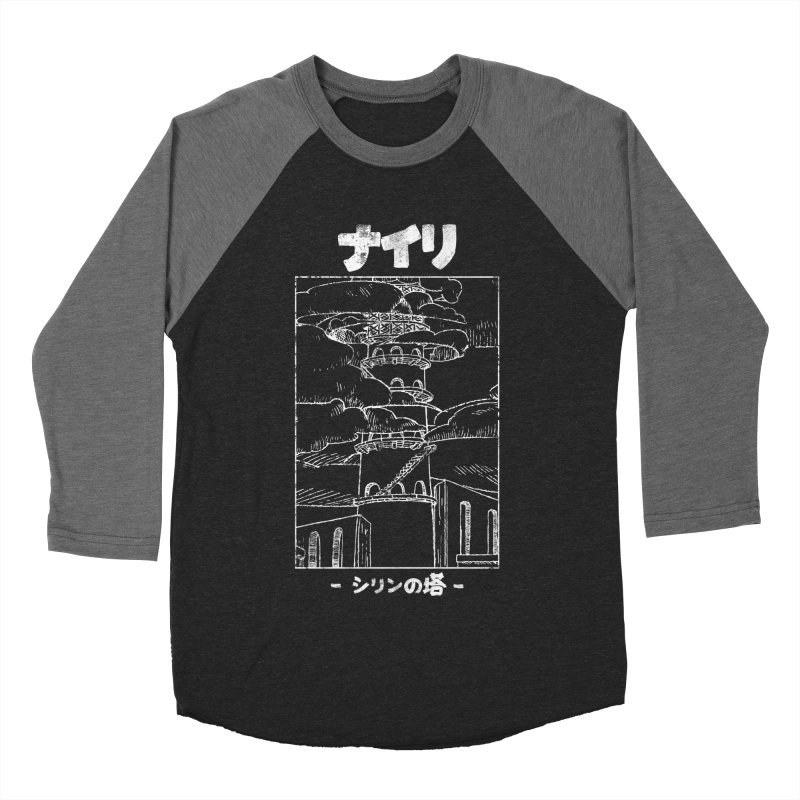 The Tower of Shirin (Japanese - White) Men's Baseball Triblend Longsleeve T-Shirt by Hound Picked Games