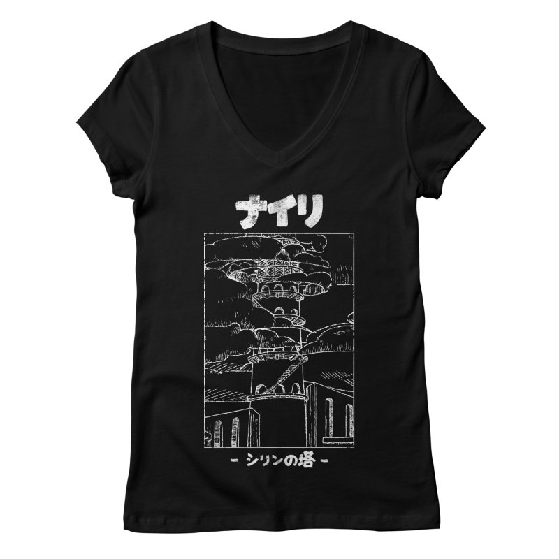 The Tower of Shirin (Japanese - White) Women's V-Neck by Hound Picked Games