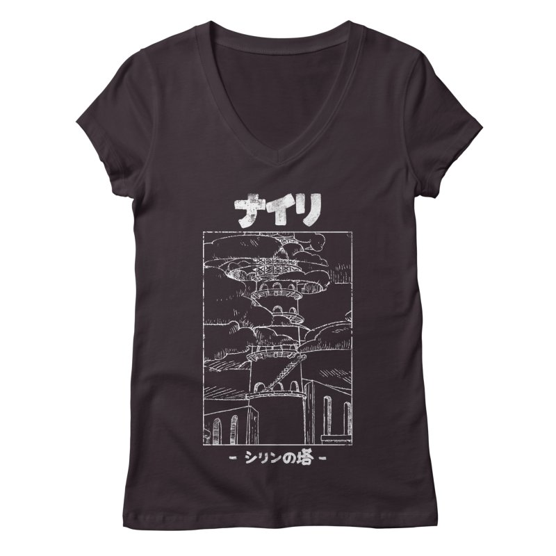 The Tower of Shirin (Japanese - White) Women's Regular V-Neck by Hound Picked Games