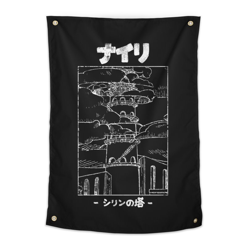 The Tower of Shirin (Japanese - White) Home Tapestry by Hound Picked Games