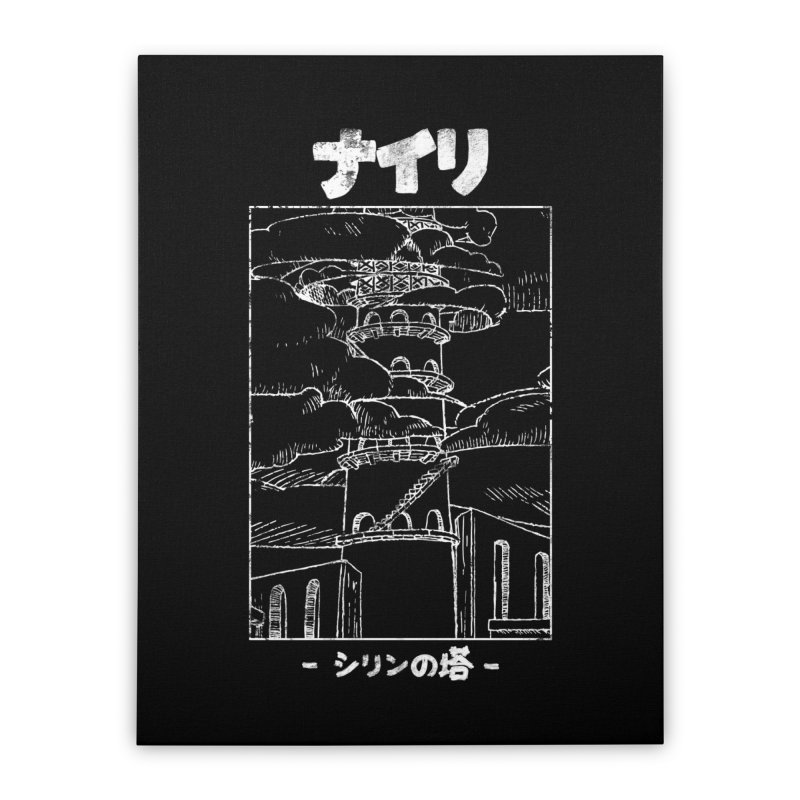 The Tower of Shirin (Japanese - White) Home Stretched Canvas by Hound Picked Games