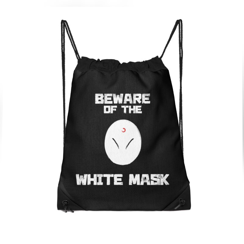 The White Mask Accessories Drawstring Bag Bag by Hound Picked Games