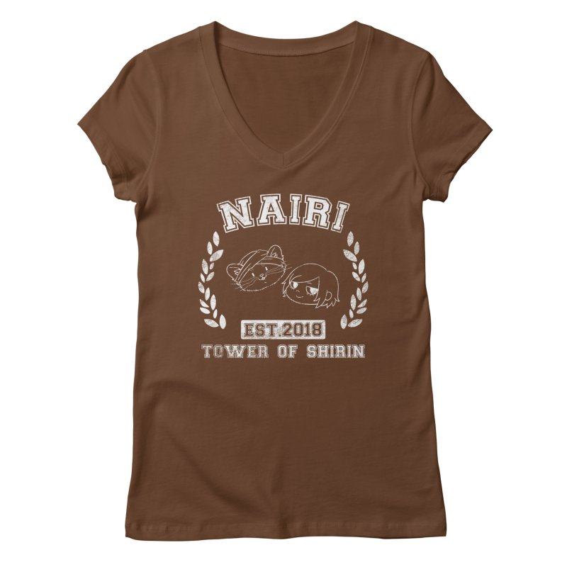 Sporty Nairi & Rex! (White) Women's Regular V-Neck by Hound Picked Games