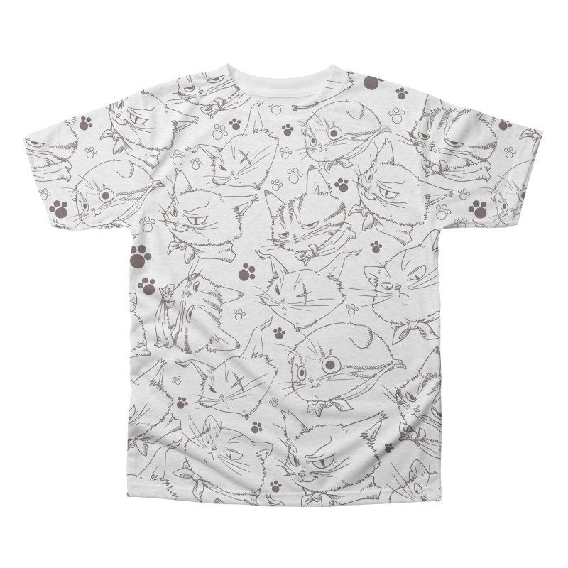 A Whole Bunch of Cats! (Brown) Men's Triblend All Over Print by Hound Picked Games