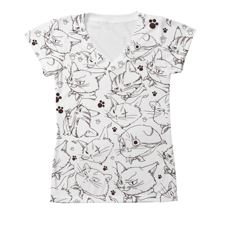 A Whole Bunch of Cats! (Brown) Women's V-Neck All Over Print by Hound Picked Games