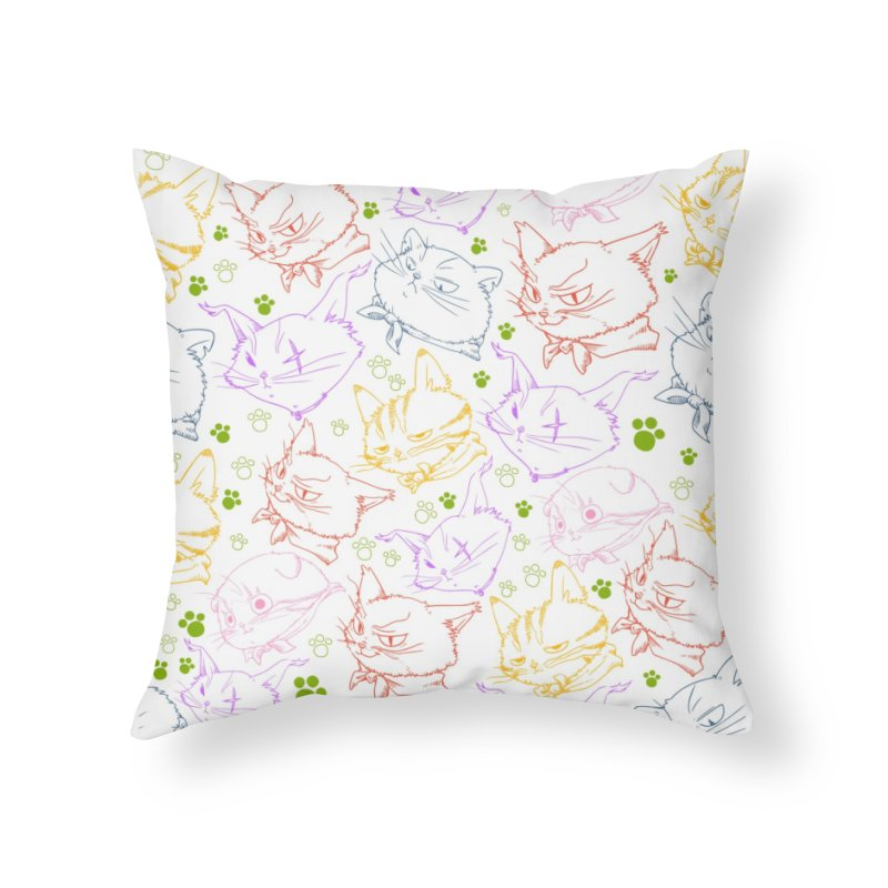 A Whole Bunch of Cats! (Coloured) in Throw Pillow by Hound Picked Games