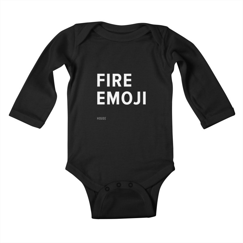 Fire Emoji Kids Baby Longsleeve Bodysuit by HouseMade