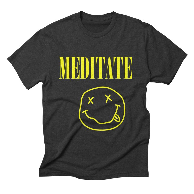 Meditate (Alternative) in Men's Triblend T-Shirt Heather Onyx by howlingwithwolvesdesigns Artist Shop